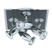 Comet 4 Light Spot Light Square in Polished Chrome and Matt Black - SEARCHLIGHT 7494